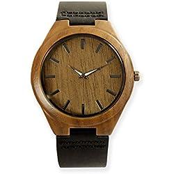 VIENTO Reloj de Madera Bamboo con Correa de Cuero, Cuarzo (Japan)