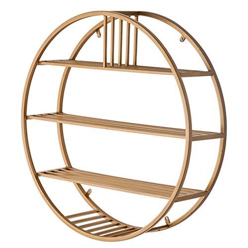 Wzldp scaffale da parete rotondo nordico/ristorante ad angolo mensola libreria semplice/soggiorno in grata di ferro battuto scaffale (colore : oro, dimensioni : 80 centimetri)