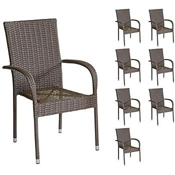 KMH® 2 Polyrattan Gartenstuhl Gartenstühle Stuhl Set Gartensessel natur braun