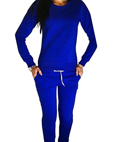 6dc4c2087f2e Moollyfox Donna Tuta da Ginnastica Jogging Tuta Sportiva Irregolare  Pullover Felpa Fitness Sport Felpa e Pantaloni Blu S