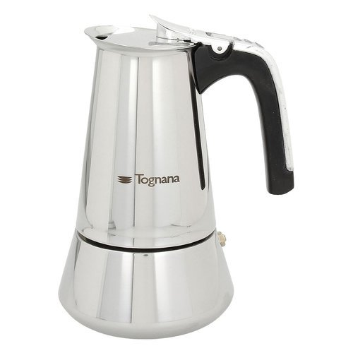 Tognana riflex induction caffettiera 4 tazze, acciaio inossidabile, argento