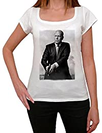 Bruce Willis 1, tee shirt femme, imprimé célébrité,Blanc, t shirt femme,cadeau