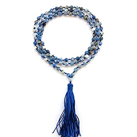 Ovalbuy 108 6mm Faceted Blue Flower Agate Knotted 108 Prayer Beads Mala For Meditation And Yoga