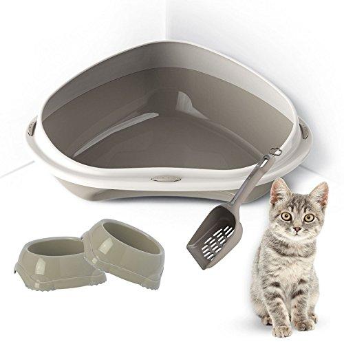 Großes oder Jumbo Katzenklo oder Katzenecke für Katzen oder junge Kätzchen + 2Schalen für Essen und Trinken + Schaufel mit abnehmbarem Rand WC-Pfanne Box Haustier Katzentoilette (Große Kapuzen Katzenklo)