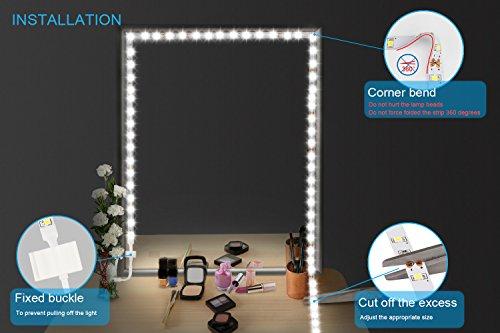 Led Spiegelleuchte,Led Eitelkeits Licht Streifen 4M/13Ft 6000K Tageslicht Dimmbar für Schminkspiegel.Make-up Licht,Schminklicht,Spiegel Nicht Inbegriffen - 3