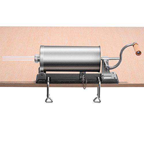 vengaconmigo Máquina de Hacer Salchichas 3,6L Embutidora de Salchichas Manual de Acero Inoxidable con 4 Embudos de Relleno Base Grande