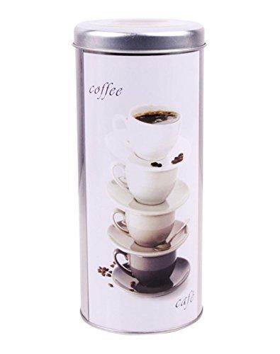 KAFFEEDOSE mit Dekor Ø8x18cm Kaffeepaddose Kaffee Paddose Coffee Blechdose 28