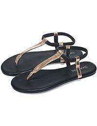 Sandales plates pour femmes et filles avec semelle extérieure en cuir et en coton