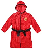 Mens Official Man Utd Manchester United MUFC Fleece Hooded Dressing Gown Bathrobe Sizes S M L XL