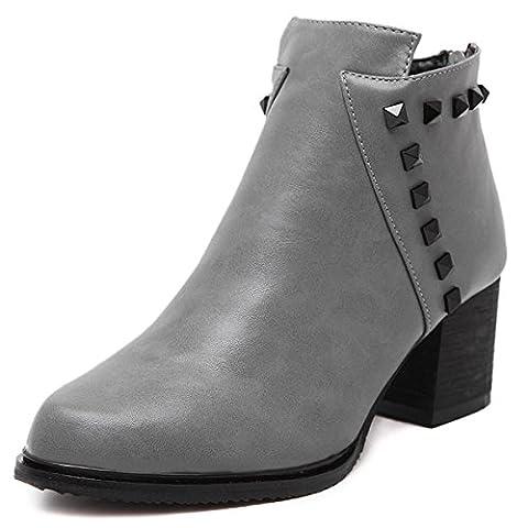 Femmes Dames Nouveau Mid High Heel Short Boots Chaussures Chunky Rough Pointed Toe Ronde Tête Artificielle Cuir PU Rivets Metal Boucle Zipper Loisirs Confortable Chevalier Pompes Noir Gris Automne Printemps Winte , gray , EUR 38/ UK 4.5