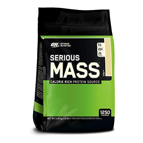 Optimum Nutrition ON Serious Mass Hochkalorisches Weight Gainer Protein Pulver mit Kohlenhydrate, Whey Protein, Vitaminen, Kreatin und Glutamin, Vanilla, 16 Portionen, 5.45kg