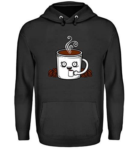 EBENBLATT Kaffee Tasse Kaffeebohnen Coffee Kostüm Geschenk Geschenkidee - Unisex Kapuzenpullover Hoodie -L-Jet Schwarz (Koffein Süchtig Kostüm)