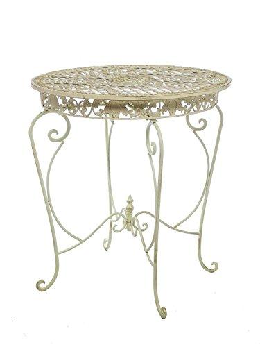 Schmiedeeisen Beistelltisch (Gartentisch Tisch 73cm Garten Eisen Antik-Stil Gartenmöbel creme weiss iron)