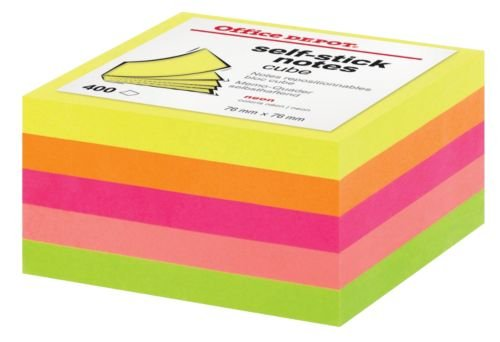 Office Depot Memo-Quader Farbig Sortiert Neon 76 x 76 mm 75 g/m² 1 x 400 Blatt (Office Depot Memo)