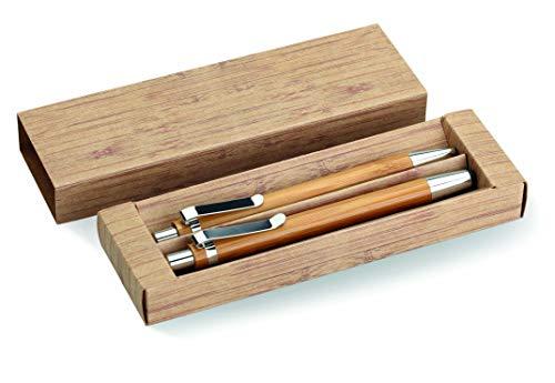 Nachhaltiges Schreibset Edel Kugelschreiber Bambus Holzkugelschreiber 2er Set Schreibwaren mit Druckbleistift Schreibutensilien in Pappbox von notrash2003®