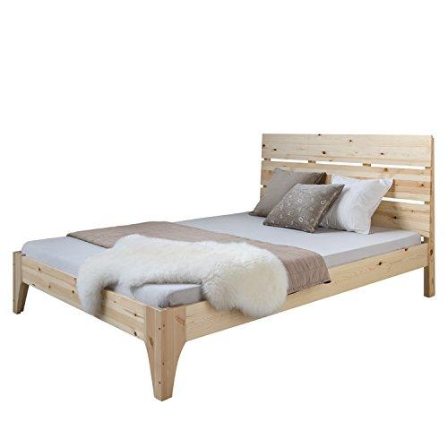 Homestyle4u 1848, Holzbett 140x 200 cm Natur, Doppelbett mit Lattenrost, Kiefer Massivholz