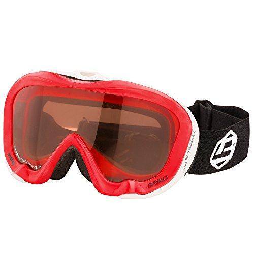 Original Briko Damen & Herren Skibrille Snowboardbrille Ski Goggles Antibeschlag - Rot / Weiß