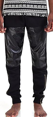 Pizoff Hip Hop Homme Pantalon en similicuir avec empiècements en PU P3101-L-P