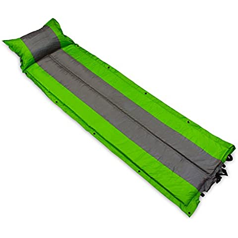 Para el Amor de ocio–ligera y plegable autohinchable Alfombrilla de camping con construido en almohada y bolsa. Perfecto para Camping, Festivales, Scouts o como para cama, color gris y verde