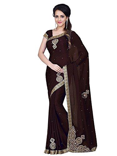 Sareeshop Women's Chiffon Saree (MancholiBrown_Brown_Free Size)