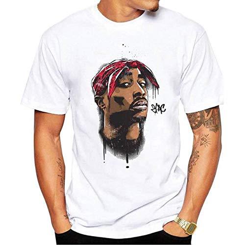 WEY T-Shirt, 2Pac Print Kurzarm-T-Shirt, Casual T-Shirt Für Herren Und Damen,Weiß,S