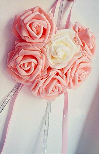 (Ribbon Pull Bow künstliche Blume Hause Hochzeitsfeier Auto Dekoration Handwerk Blumen, Pink)