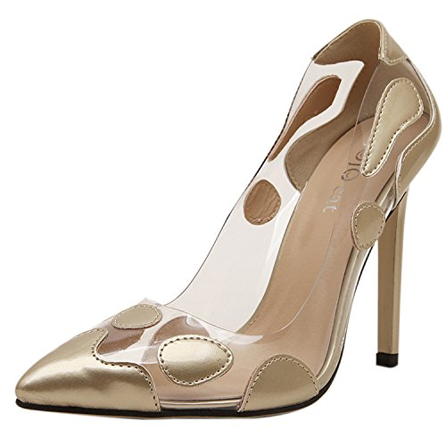 Oasap Damen Spitz High Stiletto Ohne Verschluss Pumps Golden