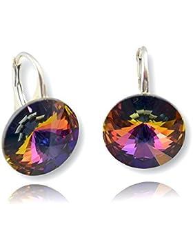 Crystals & Stones *Volcano* *RIVOLI* 14 mm - Schön Ohrringe Damen Ohrhänger mit Kristallen von Swarovski Elements...