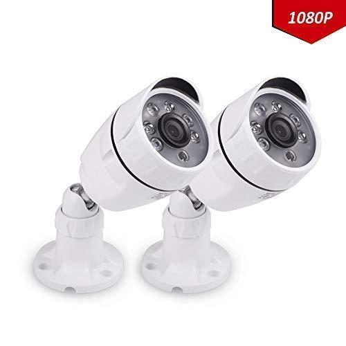 Tonton 2 Pack CCTV 2.0 Megapixel HD 1080P AHD Außen Video Überwachungskamera Weiße Sicherheitskamera, 20m IR Nachtsicht, wasserdichte für AHD//5-in-1/4-in-1 Recorder 20M Nachtsicht, Metallgehäuse Axis-cctv-kameras