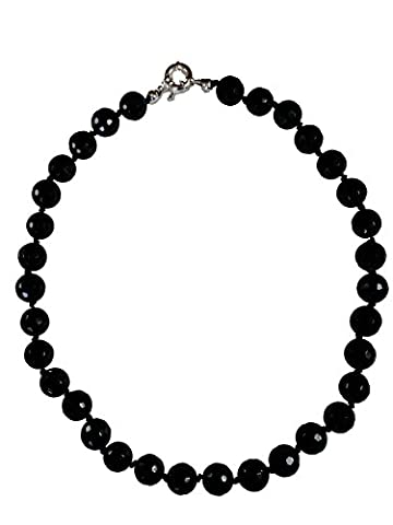 AqBeadsUk Classic Semi-Precious Gemstone 12mm Black Onyx Round Faceted Beads 19.5 inch Luxury Hand-Knotted Women's Necklace