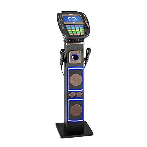 AUNA KaraBig - Dispositivo Karaoke, Lettore Karaoke, Kit Karaoke, Bluetooth, 2 microfoni dinamici, Funzione di Registrazione, Effetti LED, Lettore CG+G, Uscita Video, Porta USB, Grigio