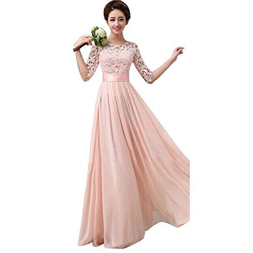 Asymmetrische Baumwolle Rock (Damen Kleider Yesmile Langes Abendkleid Scoop Brautjungfer Kleid Spitze Chiffon Abendkleid (Rosa, M))