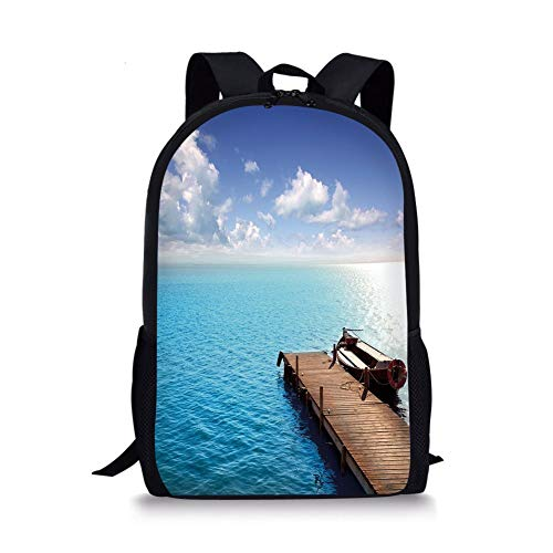 School Bags Summer,Wooden Deck on Charm Lake Holiday Europe Coast Tranquil Sea View,Violet Blue Turquoise Redwood for Boys&Girls Mens Sport Daypack - Redwood-deck