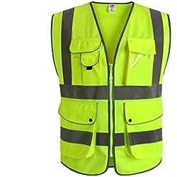 JKSafety Nueve bolsillos Nivel 2 Uniforme trabajo Chaleco con cremallera-Chaleco reflectante fluorescente-Chaleco de segurida