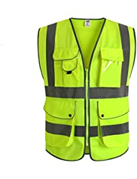 """JKSafety 9 poches de classe 2""""gilet de sécurité haute visibilité devant avec des bandes réfléchissantes, jaune répond aux normes EN ISO 20471 - Unisexe(X-Large)"""