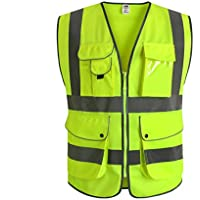 J.K 9 Pockets Class 2 High Visibility Zipper Front Safety Vest With Reflective Strips, Yellow Meets ANSI/ISEA Standards (Medium)
