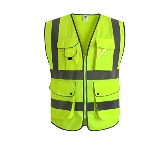 Taschenlampe Kleine Polizei (JKSafety Neun Taschen Unisex Hohe Sichtbarkeit Warnweste Reflektierende Weste Reißverschluss EN ISO 20471 (Medium))