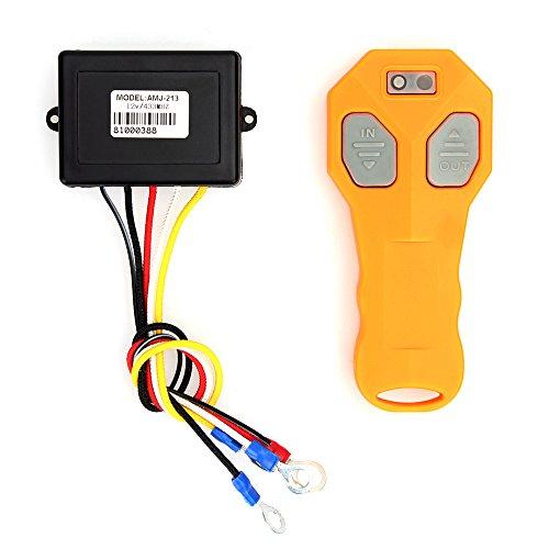 Funk Fernbedienung Elektrische Seilwinde Funk Steuergerät DC 12V + 30m Empfangsabstand Remote mit 2 * Batterie (Gelb)