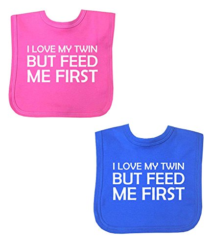 BabyPrem Baby Feeding 2 Bibs Girls Boys Twins Feed Me First Velcro PINK BLUE