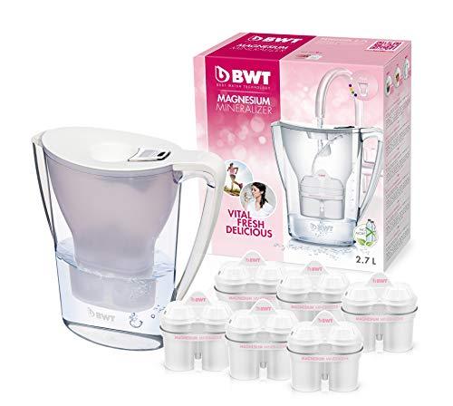 Bwt penguin elettronica caraffa di acqua filtrante con pack speciale 6/12filtri, lipo plastica moderno 6 bianco