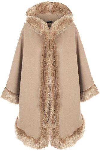 WearAll - Damen Ebene Faux Pelz Trimmen Abzugshaube Umhang Schal Mantel Poncho Mantel Top - Stein - Eine Größe