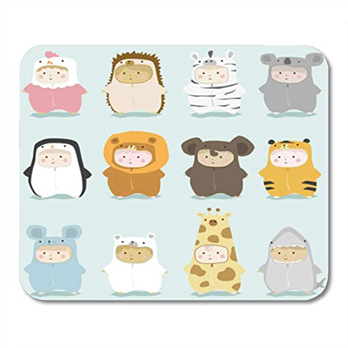 ads, Gaming Mouse Pad Baby Set of Kids in Cute Animal Costumes 2 Vector 11.8