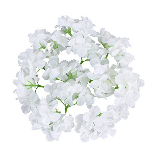 Healifty 20pcs Silk Hydrangea Köpfe Dekoration Blumen Garten Home Wedding Decor (weiß) (Miniatur-hortensie)