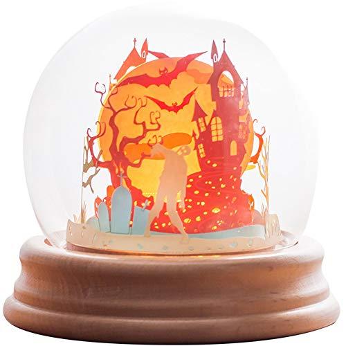 CLY night light Halloween USB Kreative 3D Stereo Glas Abdeckung Nachtlicht Verträumte Bunte Schlafzimmer Nachttischlampe