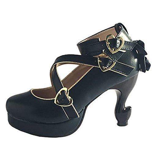 Partiss Damen Suess High-top Pumps Casual Schuhen Lolita Pumps Platform Hochzeit Tanzenball Maskerade Pumps Lolita Shoes 2 Navy