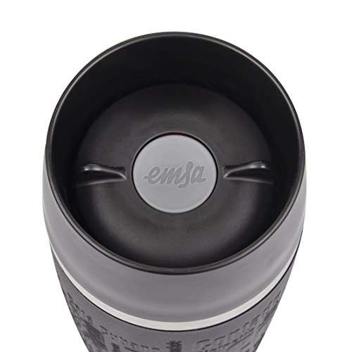 Emsa 513361 Isolierbecher, Mobil genießen, 360 ml, Quick Press Verschluss, Travel Mug, schwarz - 3