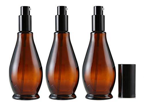 Leere Flaschen aus bernsteinfarbenem Glas, 100 ml, mit schwarzer Kappe, für Kosmetik, Parfüm, Make-up, Creme, Lotion, Lippenbalsam, ätherisches Öl, Aufbewahrungsbehälter, 3 Stück -