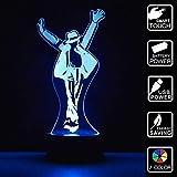 Michael Jackson Geschenk 3D Optische Illusions-Lampen 7 Farben Touch-Schalter Ändern Nachtlicht Für Schlafzimmer Home Decoration