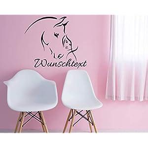 *NEU* Wandaufkleber Wandtattoo Wandsticker fürs Kinderzimmer/Tür u.a. ***Pferd & Mädchen mit Ihrem Wunschtext*** (Größen…