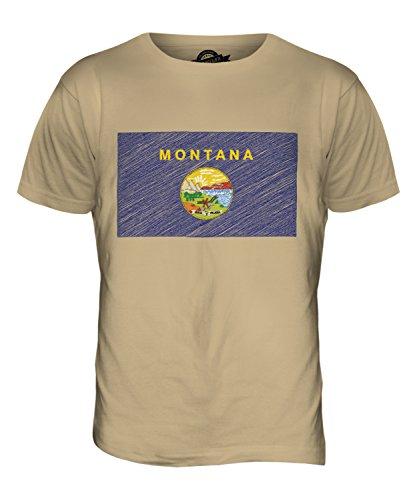 CandyMix Bundesstaat Montana Kritzelte Flagge Herren T Shirt Sand